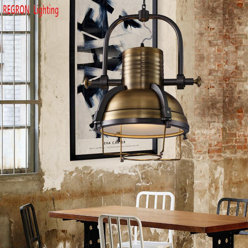Regron American Ceiling Lights Retro Industrial Heavy Metal Ceiling Lamp Vintage Iron Ceiling Light For Loft Cafe Bar Restaurant vintage american variety e27 iron ceiling dome lamp creative personality retro nostalgia cafe bar industrial ceiling light