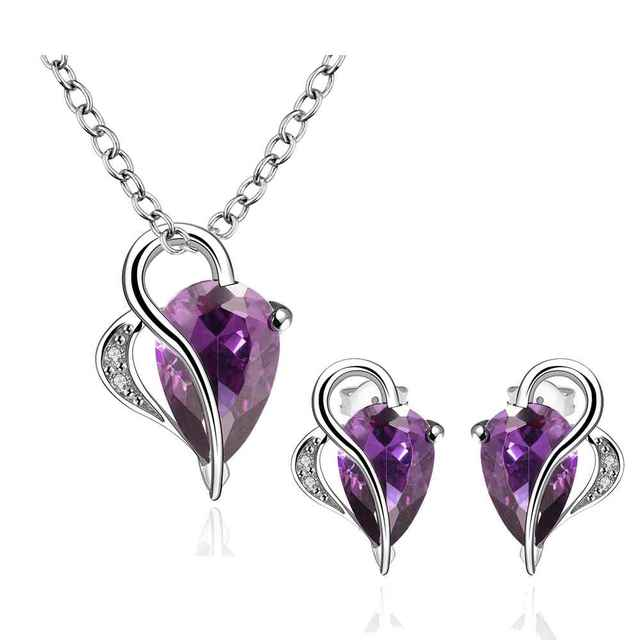 Free Shipping Best Gift   jewelry sets violet shine world withing you N+E  wedding decoration
