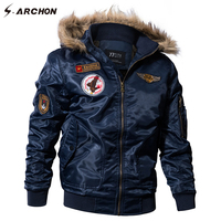 S ARCHON US Air Force Airborne Tactical Bomber Jackets Men Hooded Fur Collar Military Pilot Jacket
