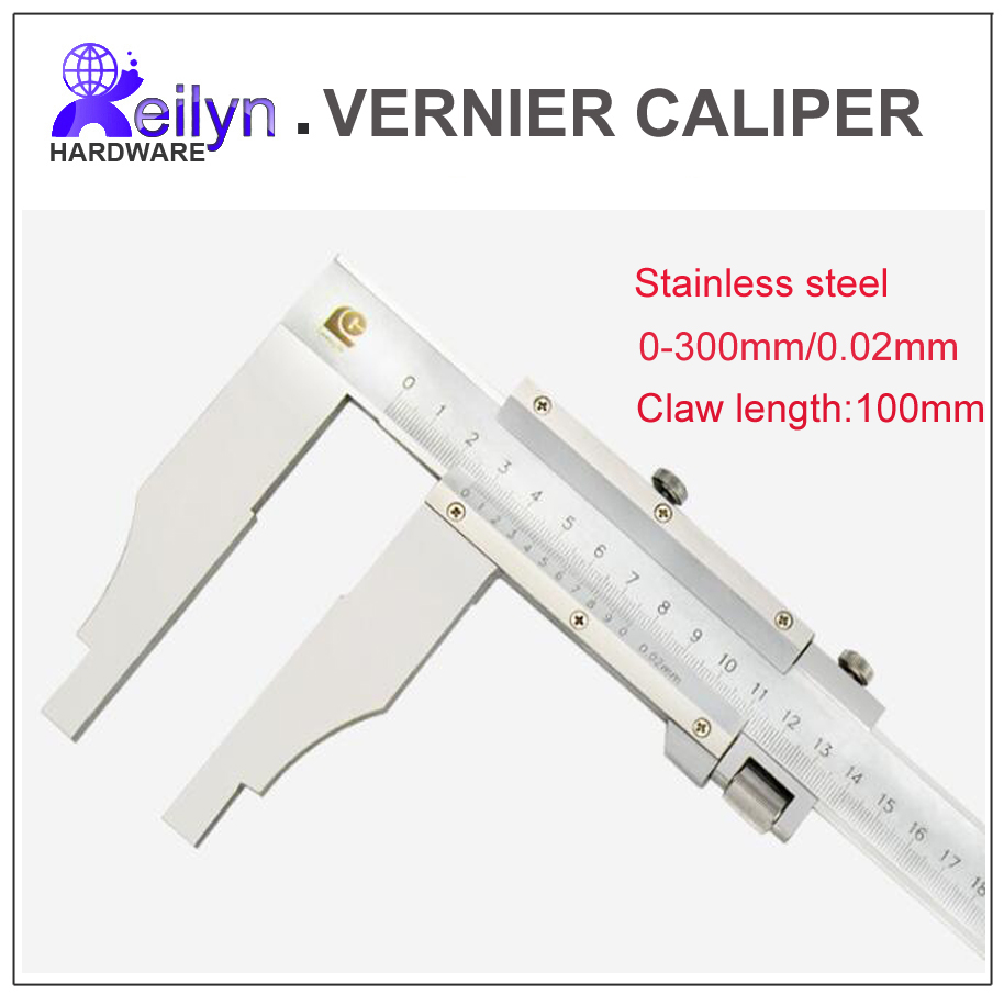 цены  Stainless steel Vernier caliper 0-300mm scale interval 0.02mm Long claw 100mm diameter depth thickness measuring instrument