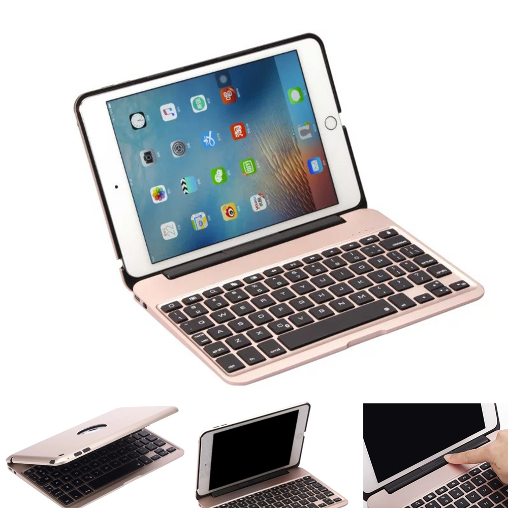 For iPad mini4 Aluminum Keyboard Case with 7 Colors Backlight Backlit Wireless Bluetooth Keyboard & Power Bank for ipad mini4 new aluminum keyboard cover case with 7 colors backlight backlit wireless bluetooth keyboard