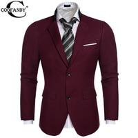 COOFANDY US Size 2016 Men Blazer Fashion Two Button Business Suit Blazer Coat Jackets British Style