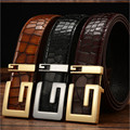 2017 New Designer Brand Gold Silver Belts Mens Genuine Leather Belt Bamboo Grain Luxury High Quality Smooth G Buckle Belt