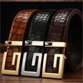 2017 Nuevo Diseñador de la Marca Cinturones de Cuero Genuino Para Hombre Cinturón de Plata de Oro Grano de Lujo de Alta Calidad De Bambú Suave Hebilla de Cinturón