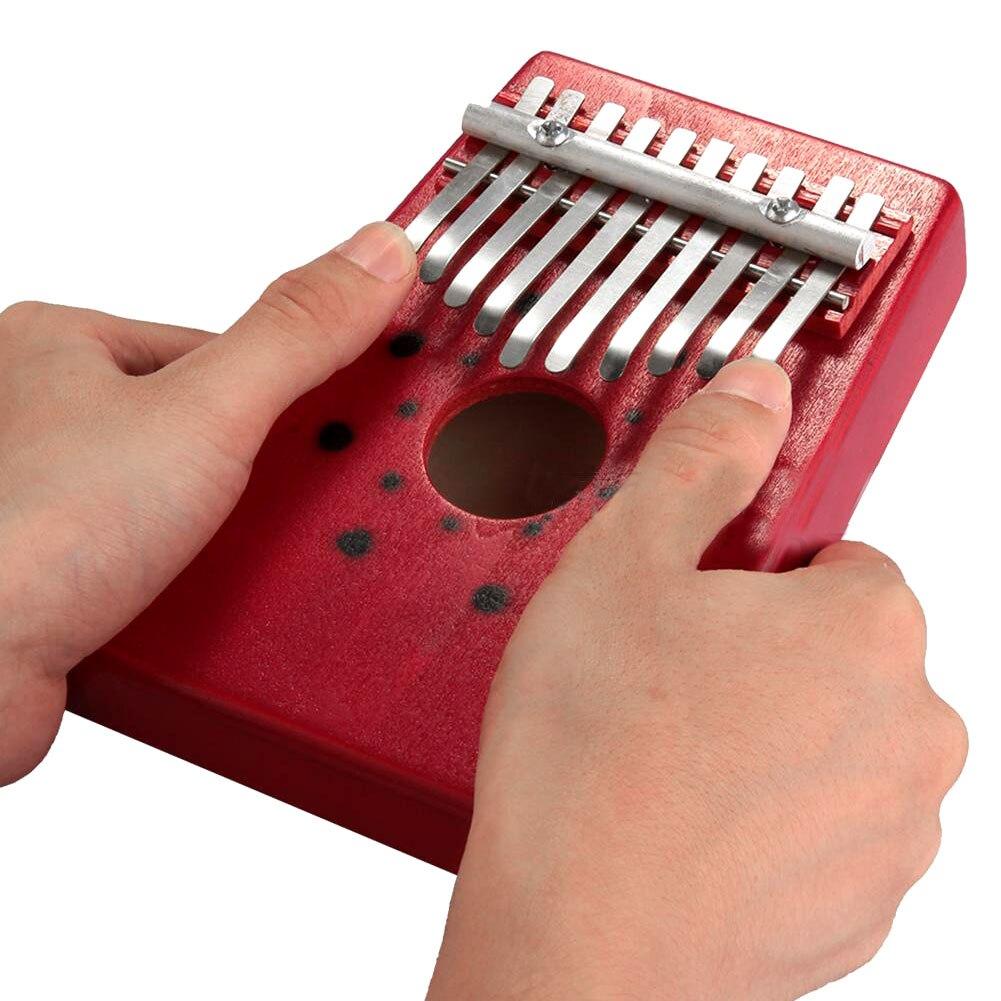 SEWS 2015 Venta caliente rojo 10 teclas Kalimba pulgar Piano tradicional instrumento Musical portátil gran regalo envío de la gota