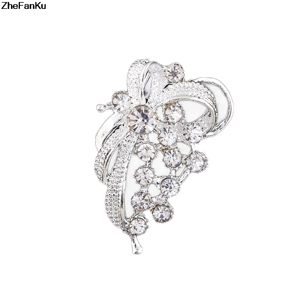 Detail Feedback Questions about New Bridal Bouquet Rhinestone Crystal Flower  Brooches Women Hijab Scarf Pin Silver Color Simulated Pearl Coat Sweater ... 4a814783617d