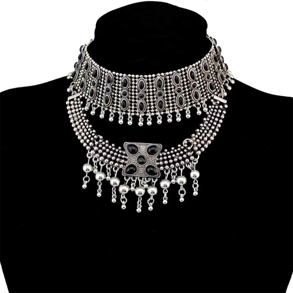 African Ethnic Black Choker Bead Collier Neckaces For Women Statement Jhumka Earrings India Collar Afghan Gypsy Turkish Jewelry