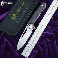 VENOM HARPOON Flipper folding knife M390 steel Titanium CFoutdoor camping hunting survival pocket kitchen fruit knives EDC tool