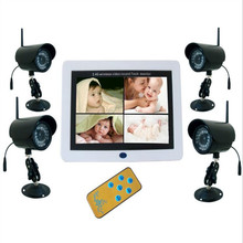 Four Simultaneous Display 7 Inch Digital Wireless Baby Monitor Video+Receiver  Baby Care DVR BABY MONITOR Support 32G SD Card