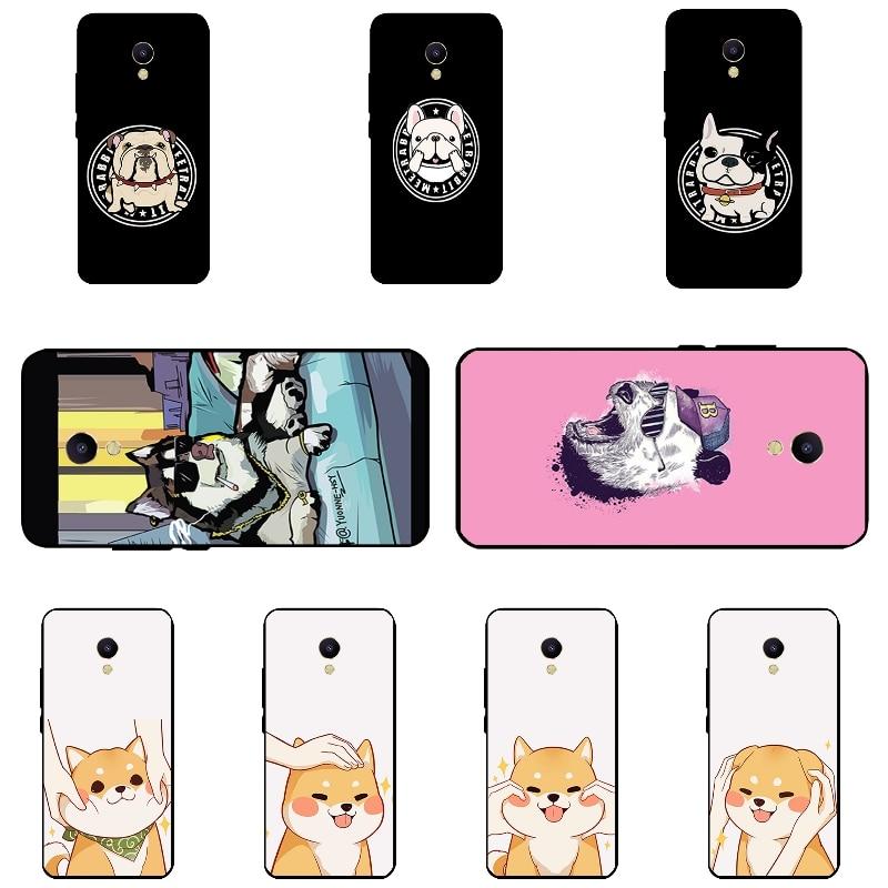 Черный силиконовый чехол для Meizu m5s мини телефон чехол для Meizu m5s В виде ракушки для meilan 5S ультра тонкий Бульдог узор Fundas кожи