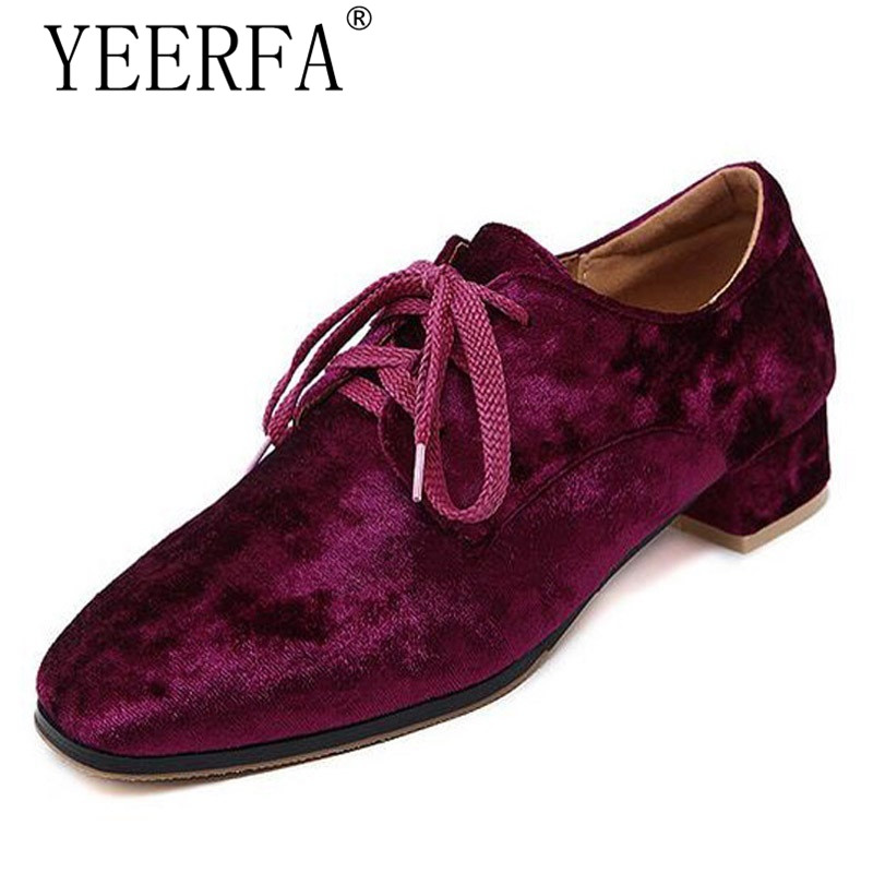 YEERFA Spring autumn Platform Velvet Oxfords Lace-Up Casual Shoes Woman Vintage Flats Low Heels Women Brogue Shoes Size 35-40 qmn women crystal embellished natural suede brogue shoes women square toe platform oxfords shoes woman genuine leather flats