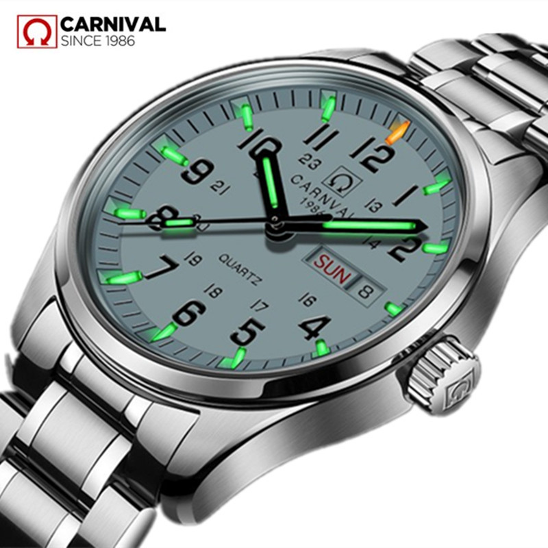 Carnival Luxury Brand Watch Men Quartz Men Watches Tritium Light Luminous Watch Male Waterproof Military Reloj Hombre C8638G-4