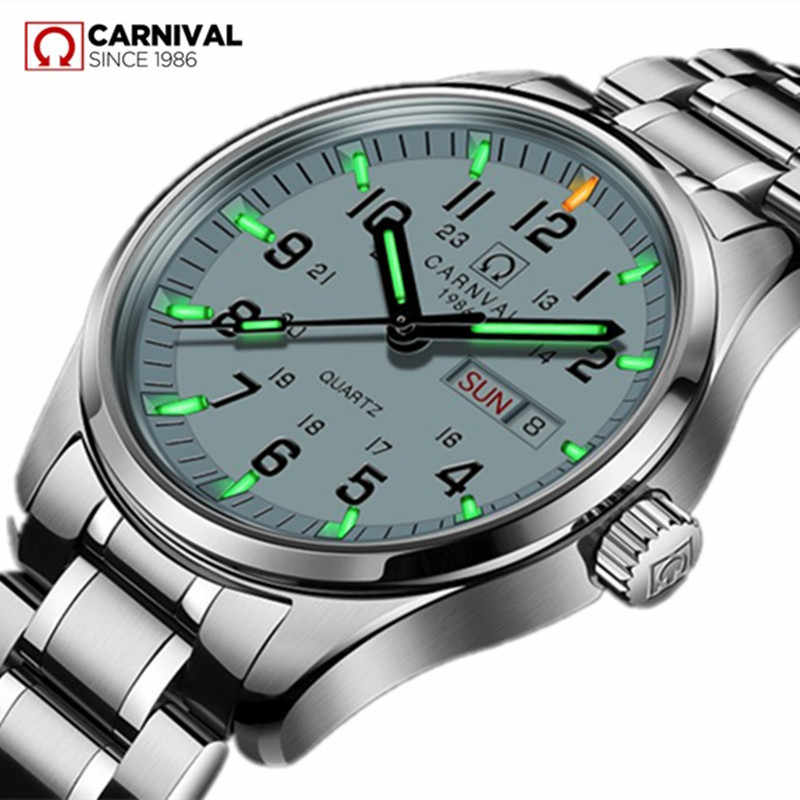 18a847ad Карнавал Элитный бренд часы Для мужчин кварцевые Для мужчин часы тритий  световой часы мужской Водонепроницаемый Военная