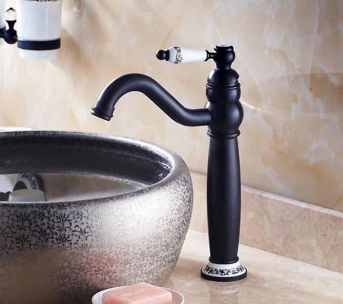 Black Oil Rubbed Antique Brass Bathroom Kitchen Sink Basin Faucet Mixer Tap Single Ceramic lever handle Base Swivel anf506Black Oil Rubbed Antique Brass Bathroom Kitchen Sink Basin Faucet Mixer Tap Single Ceramic lever handle Base Swivel anf506