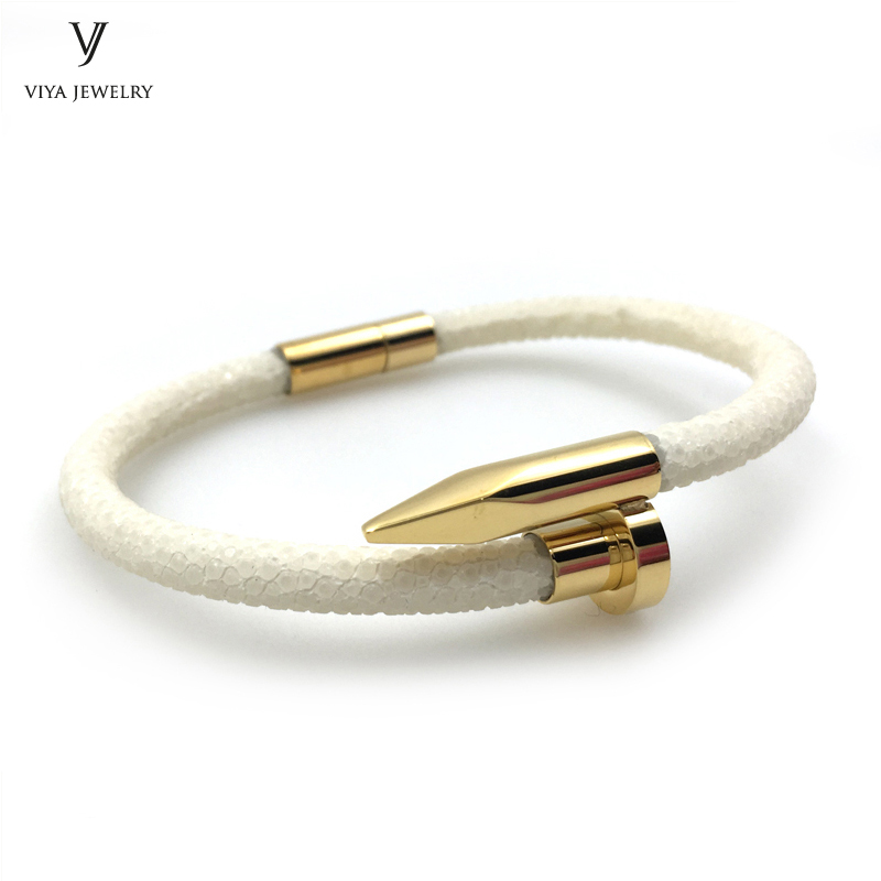 New Fashion Design Gold Magnetic Bio Leather Bracelet For Men Genuine Stingray Leather Cuff Bracelet New Nail Bracelet For Women delicate alloy butterfly cuff bracelet for women page 7