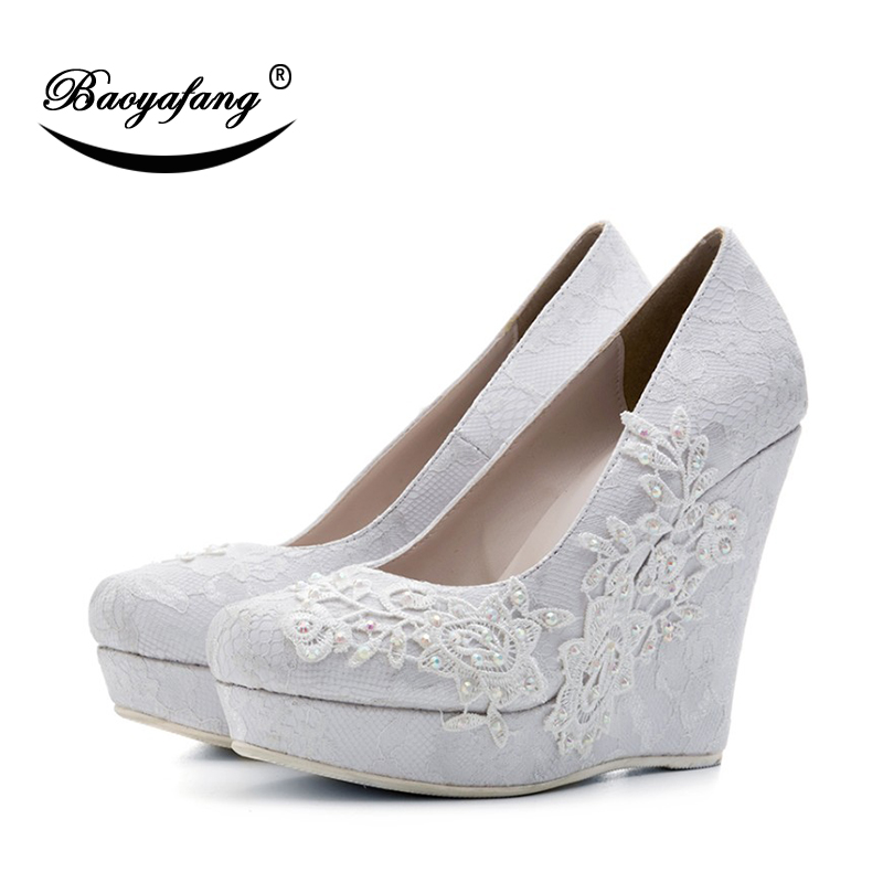 9cb161456b31 BaoYaFang New Arrival Women Wedding shoes Bride White Flower High Wedges  Ladies Party shoes woman Pumps