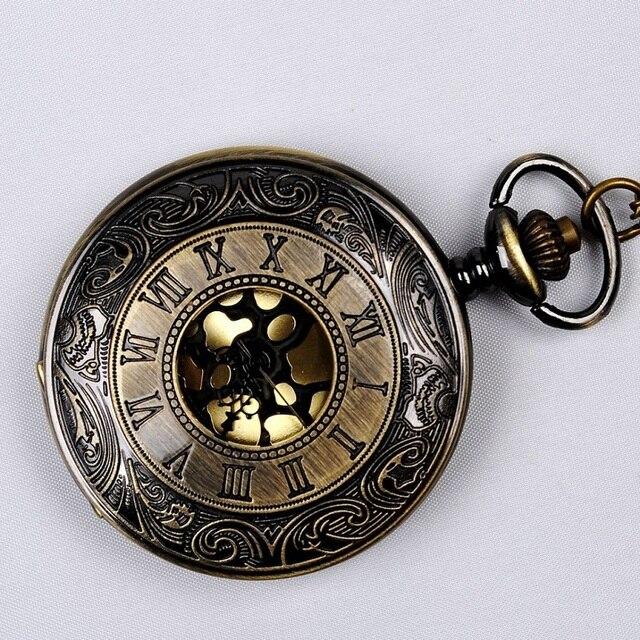 בציר ברונזה Steampunk כיס שעון קוורץ שרשרת כיס & Fob שעונים שרשרת גברים נשים שעון