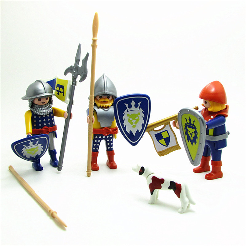 7cm Height Playmobil Knight Set Action Figure With Sword Shiel Armor Accessories Playmobil Original Soldier Collection Toys