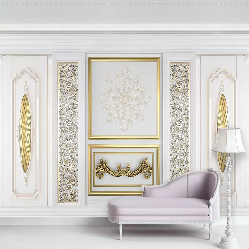 Custom Mural Wallpaper 3d White Stereo European Style Gold Carved Flower Photo Wall Paper Living Room Tv Sofa Papel De Parede 3d Painting Supplies & Wall Treatments