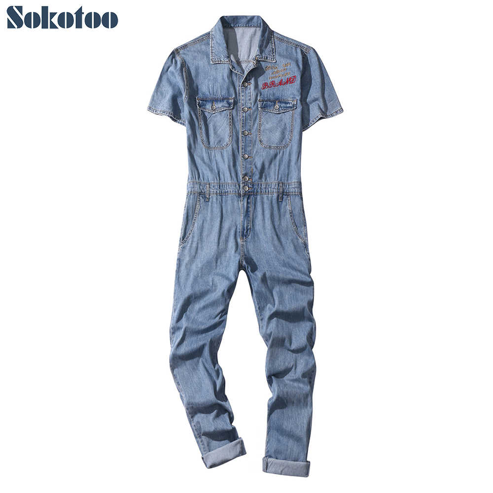 45818940051 Sokotoo Men s short sleeves letters embroidery loose thin denim jumpsuits  Casual light blue overalls Crop jeans