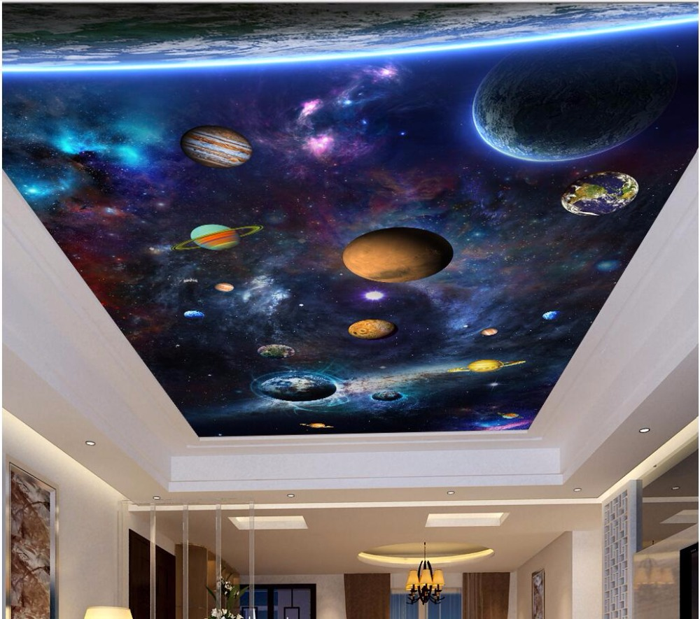 Custom photo 3d ceiling murals wallpaper Space and colorful planet decoration painting 3d wall murals wallpaper for walls 3 d custom 3d ceiling photo wave dolphin 3d ceiling murals wallpaper home decor wallpaper on the ceiling papel de parede
