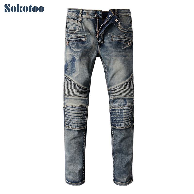 Sokotoo Men's casual patch blue biker jeans Male slim stretch denim pants Long trousers tivdio wireless restaurant calling system waiter call system guest watch pager 3 watch receiver 20 call button f3300a
