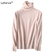 Lafarvie New Autumn Winter Turtleneck Women Sweater Pullover Female Casual Thick Knitted Mink Cashmere Sweater Warm