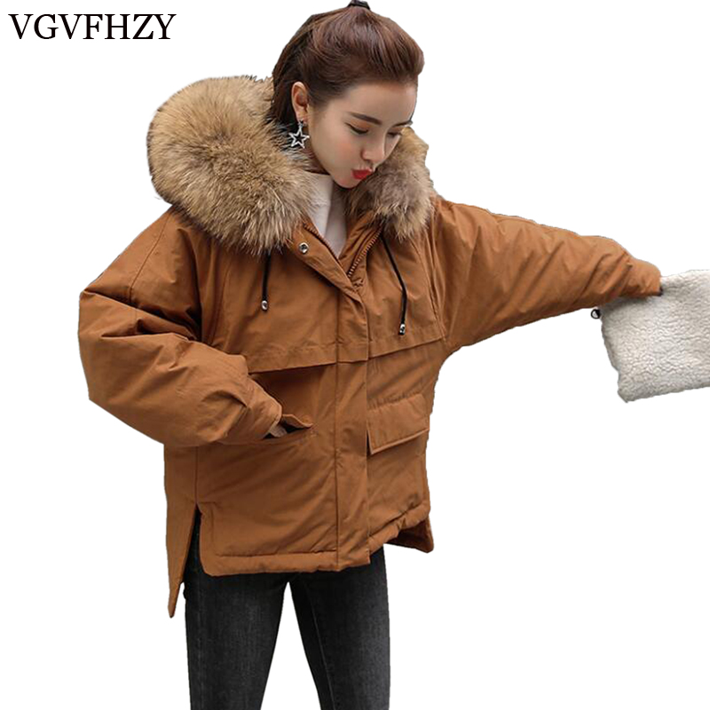 New Fashion winter Women's   down   jacket oversize Dovetail 90% white duck   down     coat   large real raccoon fur Hooded Parka LY671
