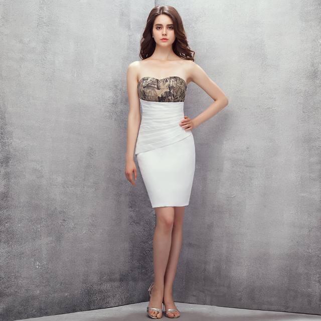 2017 Moda Camo Vestidos de Coctel Cortos Fuera del Amor Del Hombro Por Encima de La Rodilla Vestido de Fiesta Formal para Las Mujeres Elegantes Vestidos