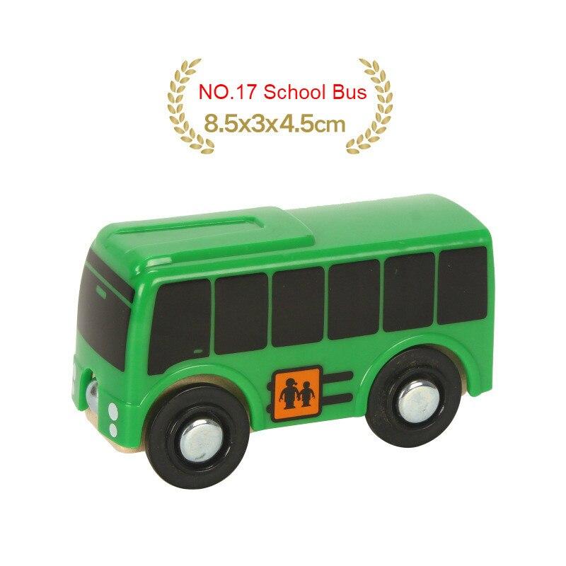 EDWONE деревянный магнитный Поезд Самолет деревянная железная дорога вертолет автомобиль грузовик аксессуары игрушка для детей подходит Дерево Biro треки подарки - Цвет: NO.17 School Bus
