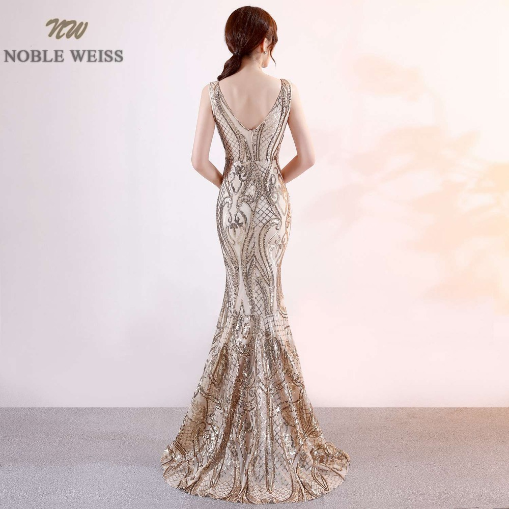 Image 5 - NOBLE WEISS Luxurious Prom Dress Deep V Neck Bling Bling Sparkly Hot Sell Corset Exquisite Prom Dresses-in Prom Dresses from Weddings & Events
