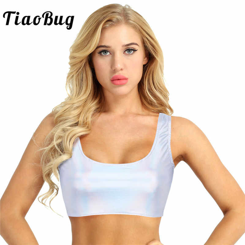 634762055d2615 TiaoBug Summer Fashion Shiny Silver Sexy Women Faux Leather Sleeveless  Scoop Neck Rave Festival Hot Short