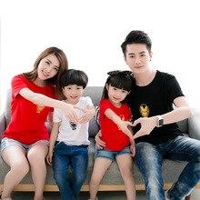 Parent-child summer dress new large size short-sleeved t-shirt family of four wear lovers cotton cartoon short sleeve