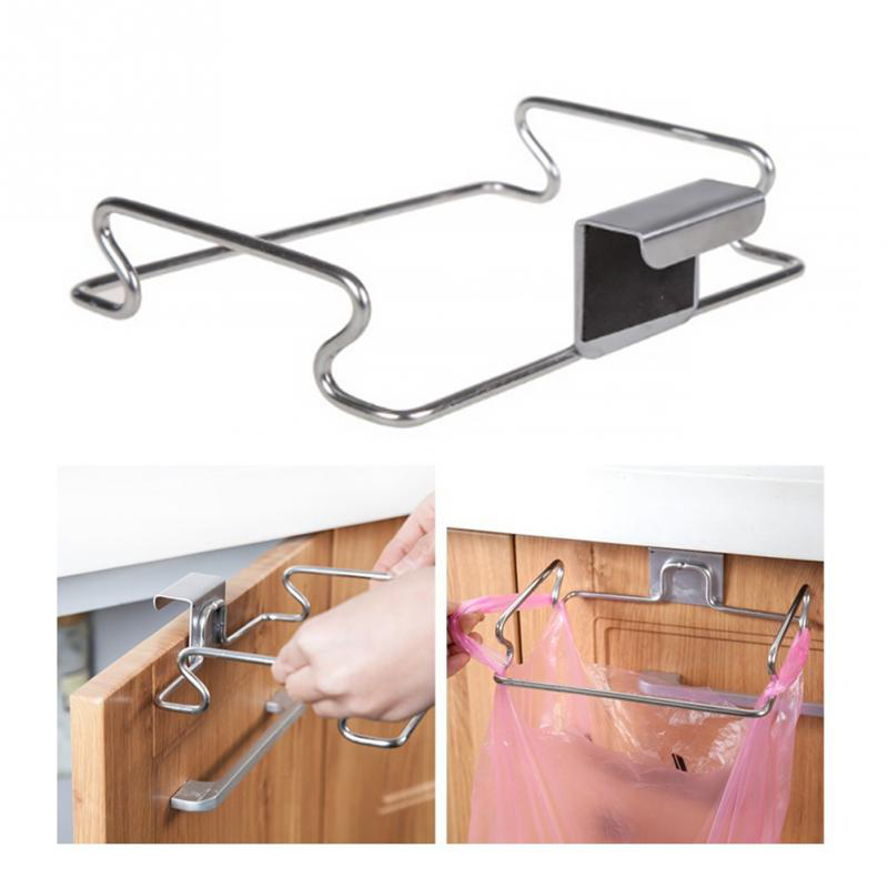 Stainless Steel Cupboard Door Back Hanging Trash Rack Storage Kitchen Garbage Rubbish Bag Can Holder Hanging Cabinet Trash Rack