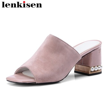 Lenkisen pearls surround peep toe slip on high heels kid suede big size solid mules concise style korean girls women pumps L43