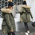 Más bajo Precio de la Chaqueta de Invierno Mujeres Espesar ropa de Abrigo Con Capucha de Piel Real de Algodón Acolchado Abrigos Parka Verde Del Ejército Abrigo Caliente venta