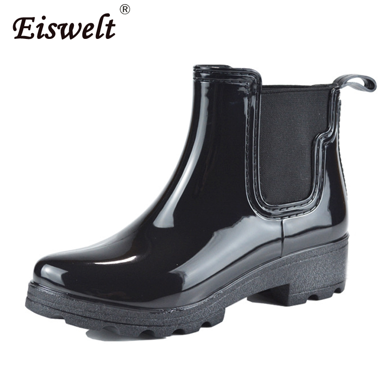EISWELT Women Fashion Rain Boots Ladies Rubber Ankle Boots Low Heels Women Shoes Slip on Ladies Shoes Woman Fashion Boots цена