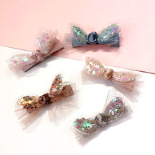 New Korea Rabbit Ears  Sequin Pentagram Star Bow Crown Hairpin Sparkling Hair Clips Hairgrips Accessories for Girls