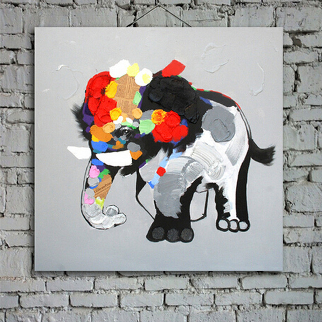 100% Hand Painted Home Decor Painting Modern Abstract Art Style Cute Little  Elephant Oil Painting