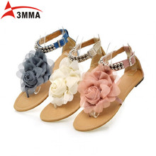 3MMA Large Size Gladiator Sandals for Women Bohemia Beaded Summer Flower Flat Heels Flip Flops Women's Shoes T-straps Sandals