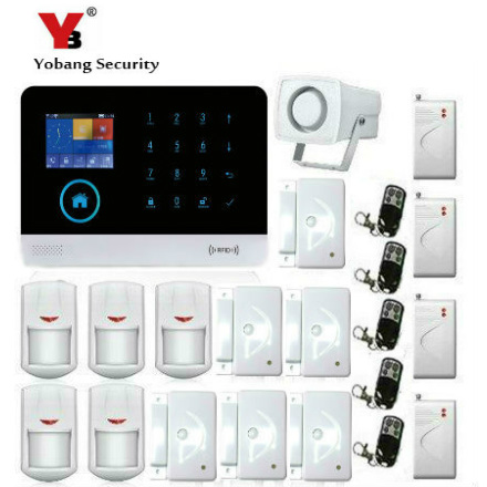 YobangSecurity Wireless Home Security System Wifi GSM GPRS RFID Alarm System Smoke Detector Shock Sensor PIR Motion Door Sensor yobangsecurity 2016 wifi gsm gprs home security alarm system with ip camera app control wired siren pir door alarm sensor