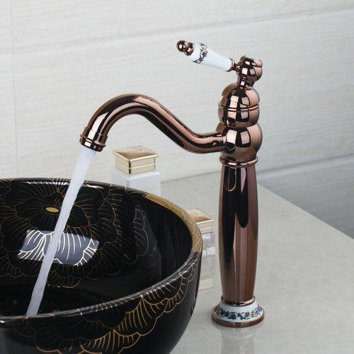 Rose Roman Golden Swivel 360 Deck Mounted  Single Handle Kitchen Faucet Torneira Cozinha Basin Sink Faucets,Mixer Taps