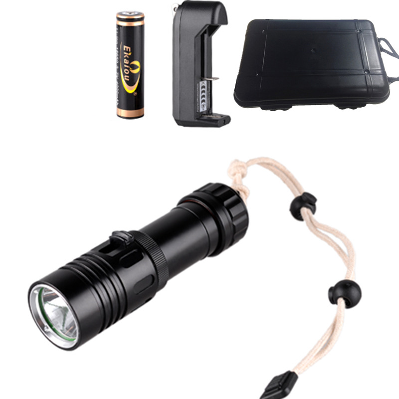 High Power Scuba Diving Flashlight CREE XM-L2 LED Underwater Light Rechargeable Torch+18650 Battery+Charger+Gift Box 100m underwater diving flashlight led scuba flashlights light torch diver cree xm l2 use 18650 or 26650 rechargeable batteries