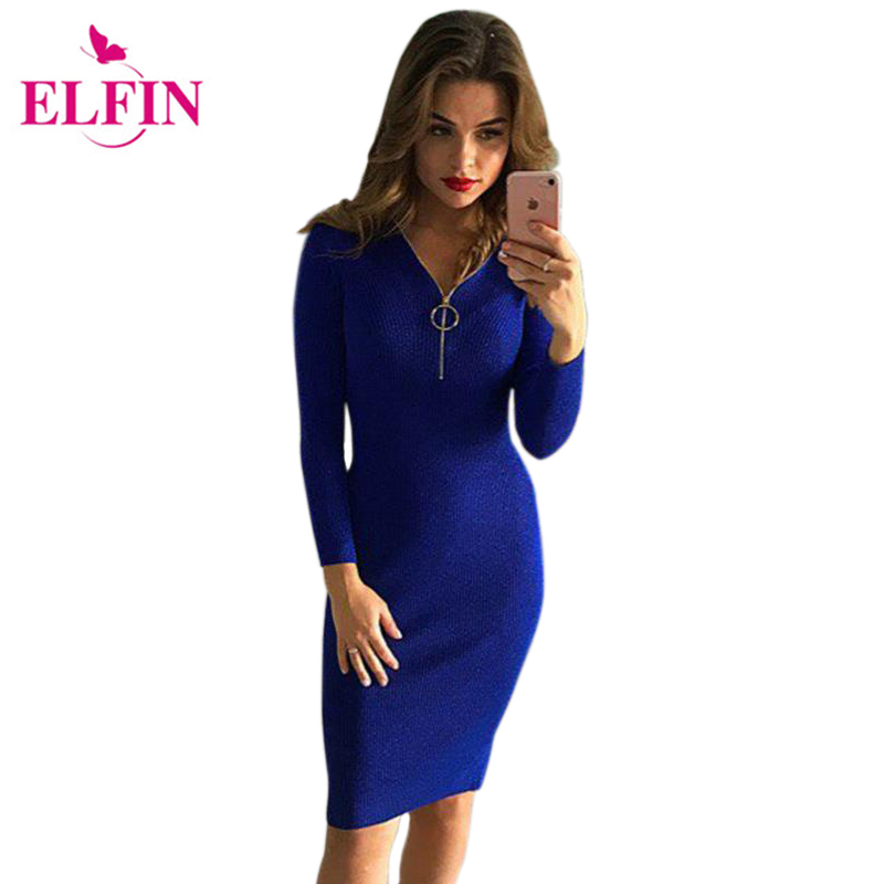 Party Dresses 2017 Women Knitted Sweater Sexy V-Neck Zipper Dresses Sexy Bodycon Dress Vestido WS4027R