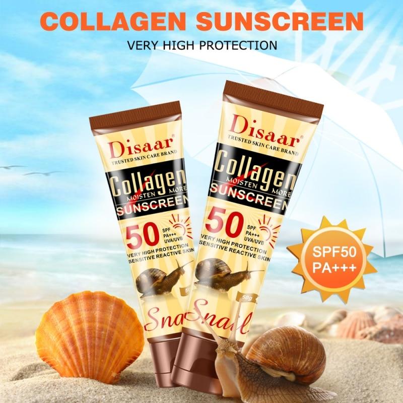 2019 New Collagen Snail Essence SPF 50 Moisturizing Sunscreen Anti-Aging Oil-control Anti-uv Whitening Sunscreen For Body Face
