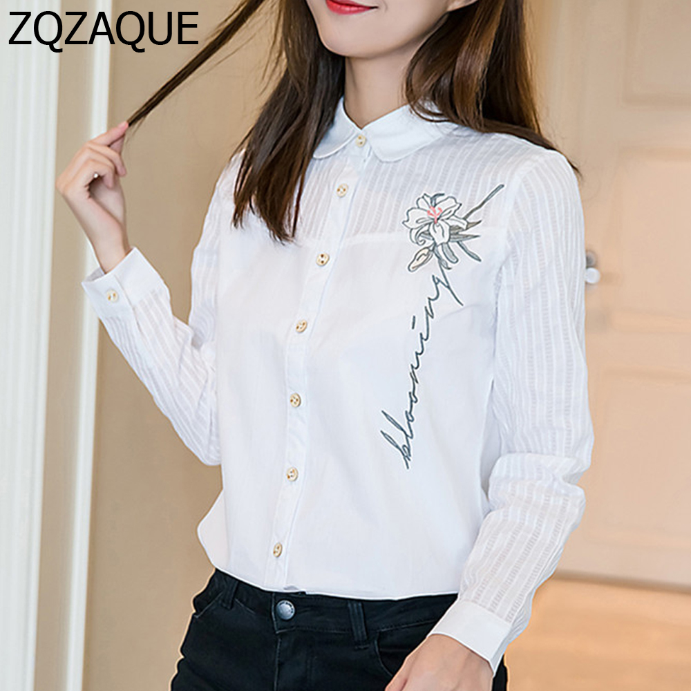 2018 Spring Autumn Wholesale Cheap Quality White Shirts Women's Embroidery Flower Single-breasted Tops Temperament Blouse SY1310