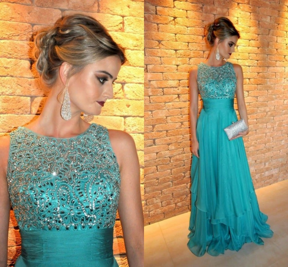 Fancy Long Evening Dresses Beaded O Neck Tank Sleeveless Vestidos De