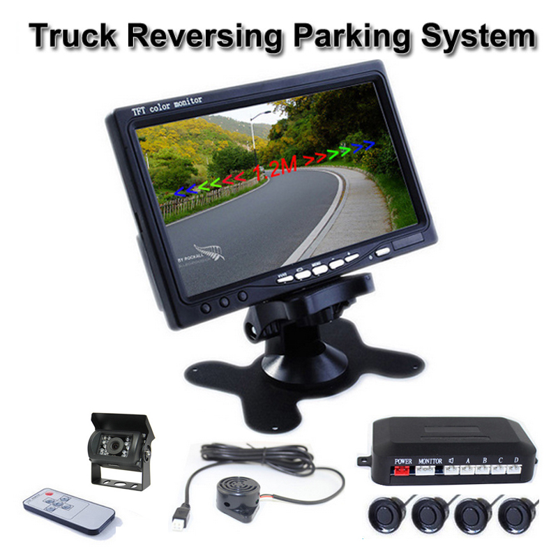 24V Parking Sensors Kit 7 inch TFT Color Car Monitor 4 Sensors Buzzer Truck Camera for Truck Van Bus