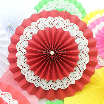 Free Shipping 30pcs 8'' 20cm Wedding Paper Fans Red Party Pinwheels Backdrop Rosette Wall Hanging Decor