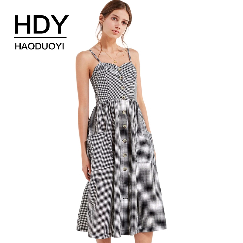 HDY Haoduoyi Brand Women Plaid Casual Dresses Preppy Style Buttons Double Pockets Female Vintage Vestidos Sleeveless Dress